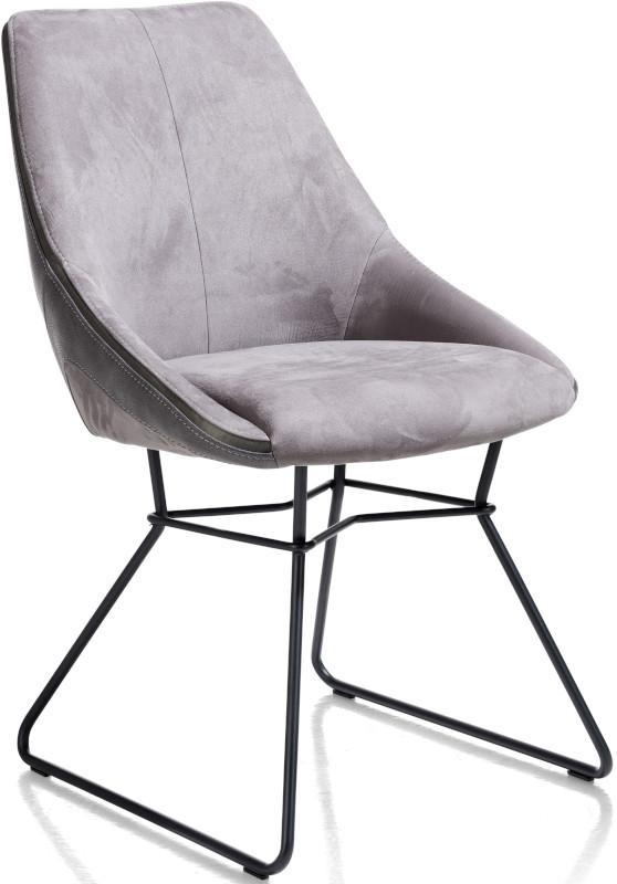 Arwen eetkamerstoel zwart frame draadstaal + combi stof Savannah / Pala Steel Grey multiplex met polyether