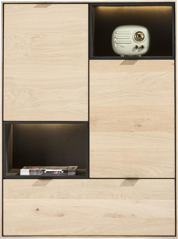 Elements highboard 90 cm. - 2-deuren + 1-lade + 2-niches + led Natural eiken fineer naturel