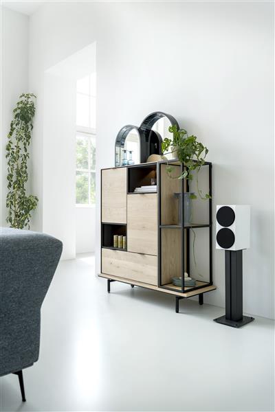 Elements lowboard 180 cm. - hang + 1-deur + 1-lade + klep + 1-niche + led Onyx eiken fineer onyx
