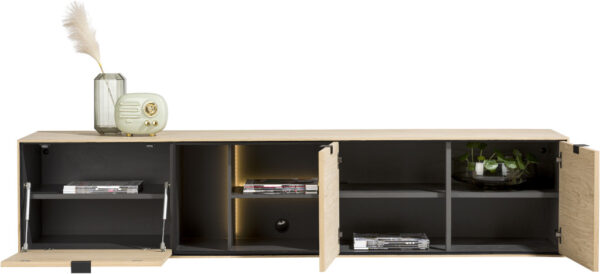 Elements lowboard 210 cm. - hang + 2-deuren + klep + 3-niches + led Natural eiken fineer naturel