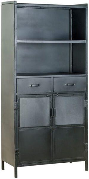 Industrieel boekenkast - 2drs. 2 laden uit de Eleonora collectie