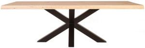 Boomstam tafel met spinpoot - 300x100, uit de sfeervolle collectie van Eleonora. Eleonora staat voor trendy en origineel design met een industrieel, vintage en retro karakter. Deze prachtige eettafel is vervaardigd uit eiken hout & metaal. Afmeting: (hxbxd) 77x300x100 cm.