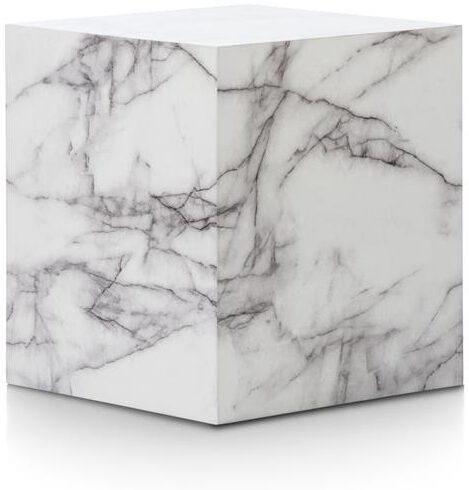 Marble look bijzettafel H50cm - wit