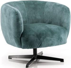 Fauteuil Jaimey - blauw adore, uit de sfeervolle collectie van Eleonora. Eleonora staat voor trendy en origineel design met een industrieel, vintage en retro karakter. Deze prachtige fauteuil is vervaardigd uit polyester & metaal. Afmeting: (hxbxd) 75x77x80 cm.