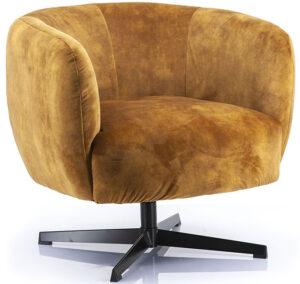 Fauteuil Jaimey - oker adore, uit de sfeervolle collectie van Eleonora. Eleonora staat voor trendy en origineel design met een industrieel, vintage en retro karakter. Deze prachtige fauteuil is vervaardigd uit polyester & metaal. Afmeting: (hxbxd) 75x77x80 cm.
