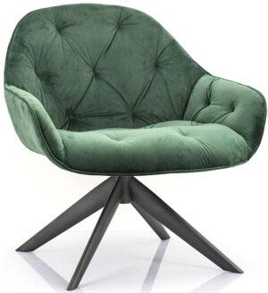 Fauteuil Joy - groen winnfield, uit de sfeervolle collectie van Eleonora. Eleonora staat voor trendy en origineel design met een industrieel, vintage en retro karakter. Deze prachtige fauteuil is vervaardigd uit velours & metaal. Afmeting: (hxbxd) 82x77x75 cm.