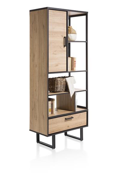 boekenkast 80 cm. - 1-deur + 1-lade + 5-niches Natural