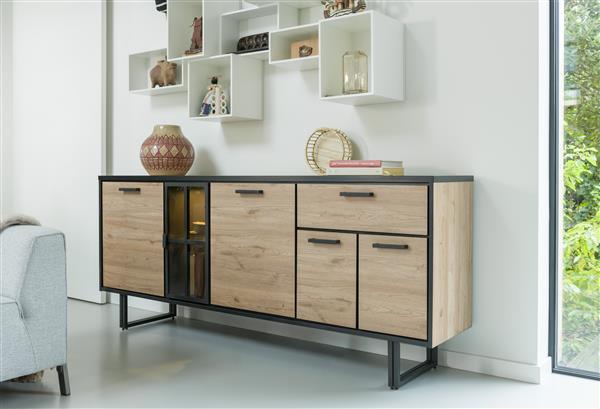 dressoir 200 cm. - 4-deuren + 1-lade + 1-glasdeur (+ LED) Natural