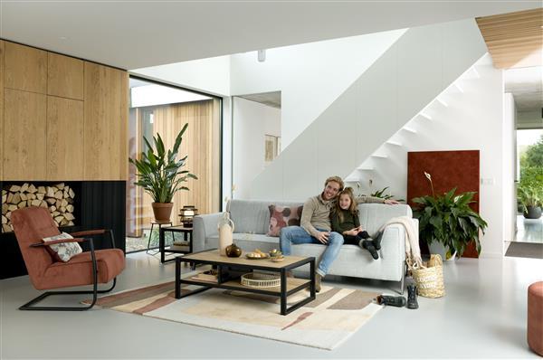 lowboard 150 cm. - 2-deuren + 1-lade + 1-niche (+ LED) Natural