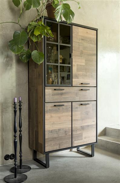 lowboard 180 cm. - 2-deuren + 1-lade + 1-niche (+ LED) Natural