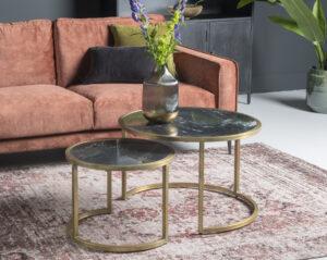 Livingfurn CT - Jamie Marble Black Gold Set of 2  Salontafels