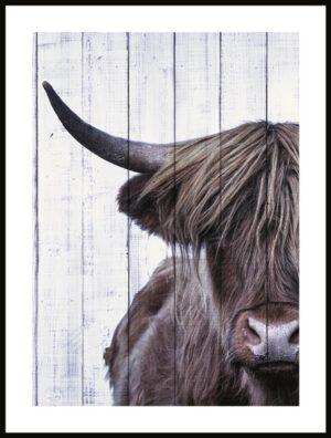 Profijt Meubel Wanddecoratie op hout 'Bull'  Wanddecoratie