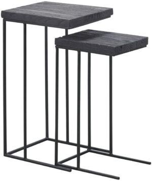 Pronto Wonen Tafeltjes Legno zwart teak (set)  Woonaccessoire
