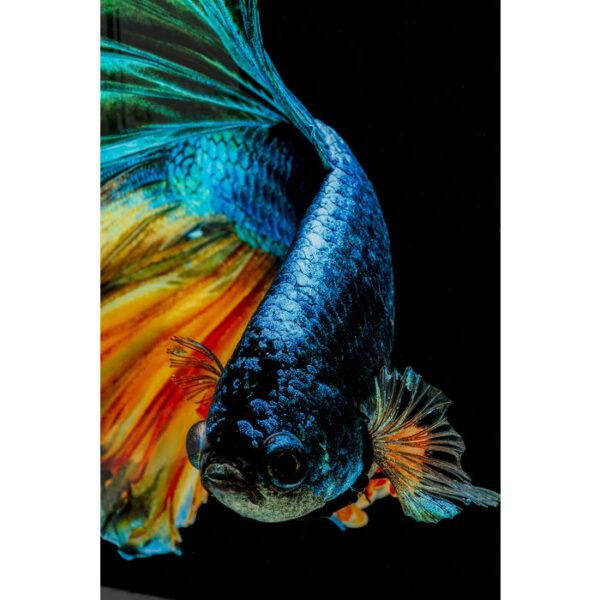 Kare Design Schilderij Glas Aqua Queen Fish 100x100cm schilderij 53084 - Lowik Meubelen