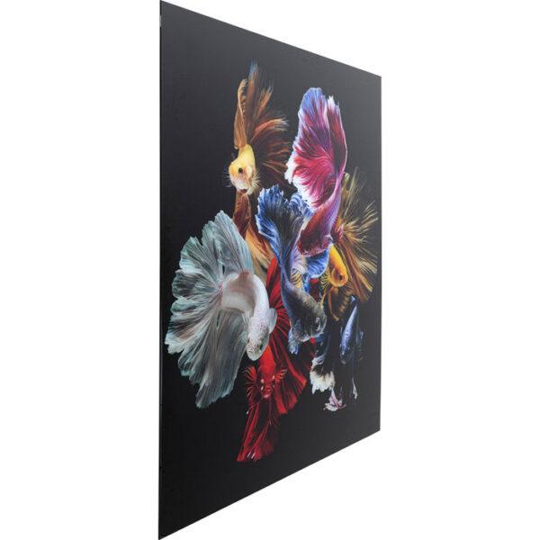 Kare Design Schilderij Glas Colorful Swarm Fish 120x120 schilderij 53082 - Lowik Meubelen