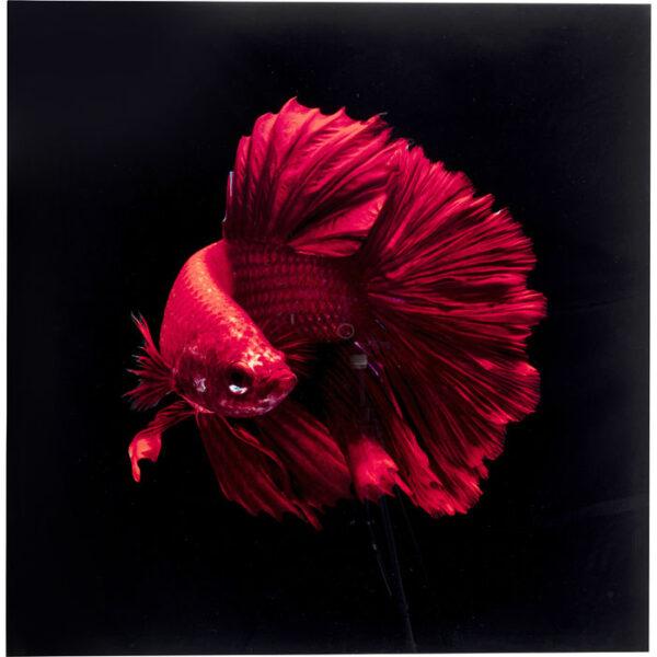 Kare Design Schilderij Glas Fire Fish 100x100 schilderij 53085 - Lowik Meubelen