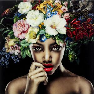 Kare Design Schilderij Glas Pretty Flower Woman 120x120 schilderij 52624 - Lowik Meubelen