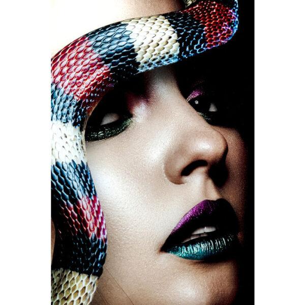 Kare Design Schilderij Glas Snake Girl 80x120 schilderij 53079 - Lowik Meubelen