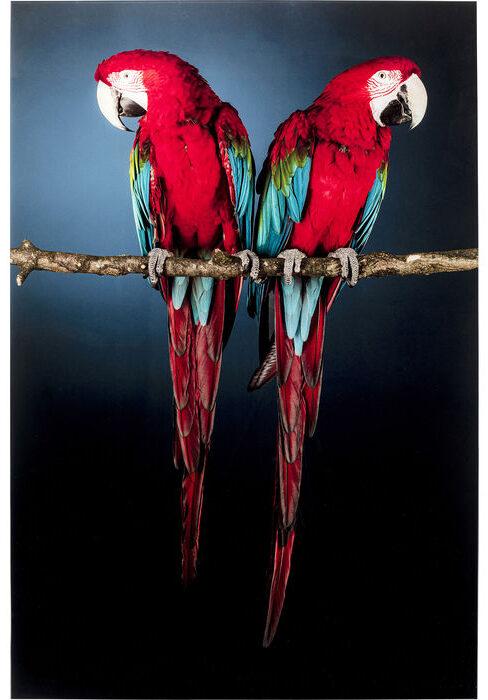 Kare Design Schilderij Glas Twin Parrot 80x120 schilderij 53086 - Lowik Meubelen