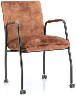 Stoel Meggy - copper adore, uit de sfeervolle collectie van Eleonora. Eleonora staat voor trendy en origineel design met een industrieel, vintage en retro karakter. Deze prachtige eetstoel is vervaardigd uit stof & metaal. Afmeting: (hxbxd) 85x68x52 cm.