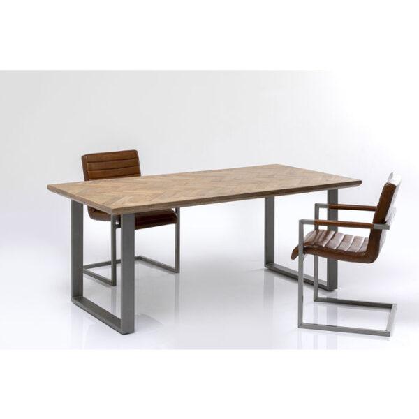 Kare Design Tafel Parquet Acier Brut 180x90 eetkamertafel 85244 - Lowik Meubelen