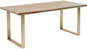 Kare Design Tafel Parquet Brass 180x90 eetkamertafel 85243 - Lowik Meubelen