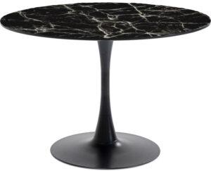Kare Design Tafel Schickeria Marbleprint Black - Ø110cm eetkamertafel 85896 - Lowik Meubelen