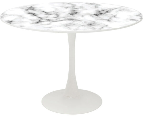 Kare Design Tafel Schickeria Marbleprint White - Ø110cm eetkamertafel 85897 - Lowik Meubelen