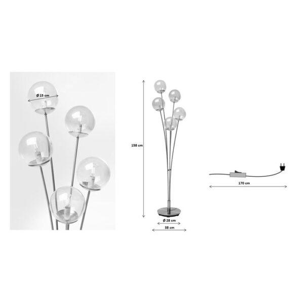Kare Design Vloerlamp Five Balls Matt Black vloerlamp 52681 - Lowik Meubelen