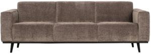 Statement 3-zitsbank 230 Cm Brede Platte Rib - Taupe uit de Banken collectie van BePureHome bij Löwik Meubelen