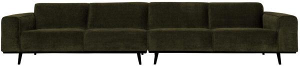 Statement Xl 4-zitsbank 372 Cm Platte Brede Rib - Warm Groen uit de Banken collectie van BePureHome bij Löwik Meubelen