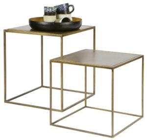 Set/2 - Metallic Bijzettafels Vierkant Metaal - Brass uit de Tafels collectie van BePureHome bij Löwik Meubelen