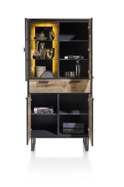 Henders & Hazel Avalon bergkast 96 cm. - 3-deuren + 1-lade + 1-glasdeur (+ LED) - driftwood  Kast
