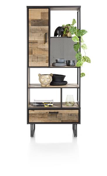 Henders & Hazel Avalon boekenkast 80 cm. - 1-deur + 1-lade + 5-niches - driftwood  Kast