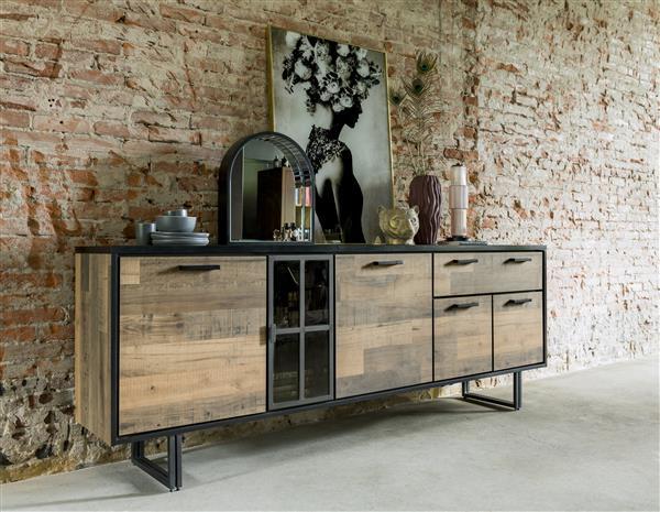 Henders & Hazel Avalon dressoir 230 cm. - 4-deuren + 1-lade + 1-glasdeur (+ LED) - driftwood  Dressoir