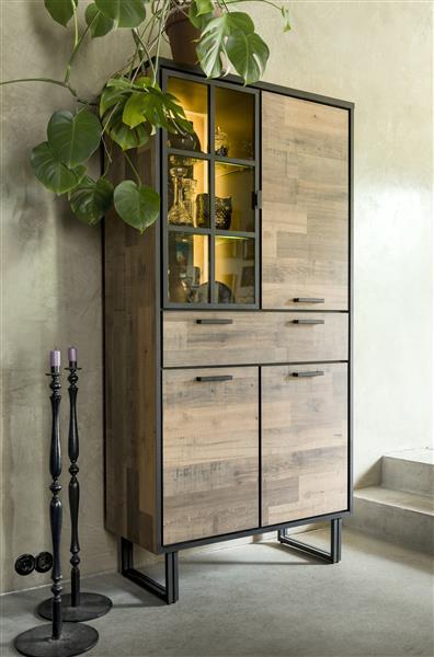 Henders & Hazel Avalon highboard 120 cm. - 2-deuren + 1-glasdeur + 1-klep (+ LED) - driftwood  Kast