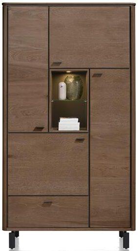 Henders & Hazel Livada bergkast 110 cm. - 4-deuren + 1-lade + 2-niches - choco brown  Kast