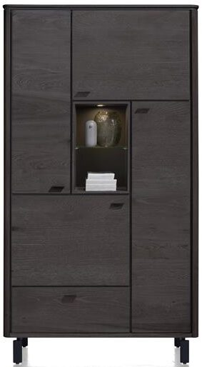 Henders & Hazel Livada bergkast 110 cm. - 4-deuren + 1-lade + 2-niches - onyx  Kast
