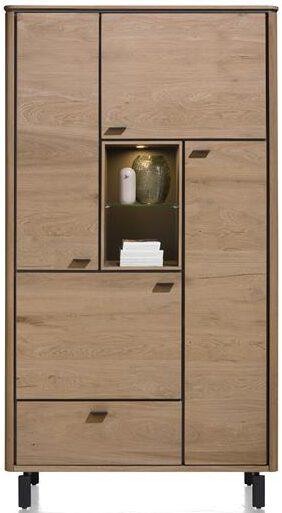 Henders & Hazel Livada bergkast 110 cm. - 4-deuren + 1-lade + 2-niches - railway brown lak  Kast