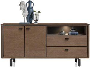 Henders & Hazel Livada dressoir 180 cm. - 2-deuren + 2-laden + 1-niche - choco brown  Dressoir