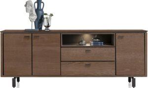 Henders & Hazel Livada dressoir 210 cm. - 3-deuren + 2-laden + 1-niche - choco brown  Dressoir