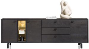 Henders & Hazel Livada dressoir 240 cm. - 3-deuren + 3-laden + 3-niches - onyx  Dressoir
