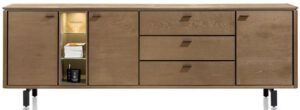 Henders & Hazel Livada dressoir 240 cm. - 3-deuren + 3-laden + 3-niches - railway brown lak  Dressoir