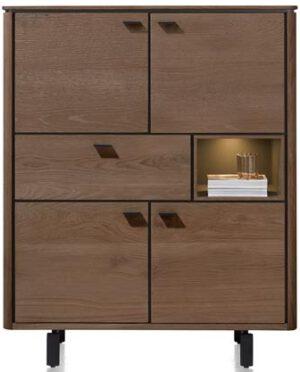 Henders & Hazel Livada highboard 115 cm. - 4-deuren + 1-lade + 1-niche - choco brown  Kast