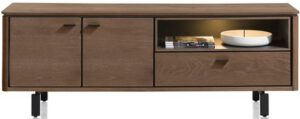 Henders & Hazel Livada lowboard 170 cm. - 2-deuren + 1-klep + 1-niche - choco brown  Tv-dressoir