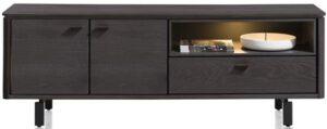 Henders & Hazel Livada lowboard 170 cm. - 2-deuren + 1-klep + 1-niche - onyx  Tv-dressoir