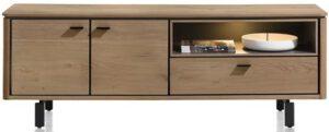 Henders & Hazel Livada lowboard 170 cm. - 2-deuren + 1-klep + 1-niche - railway brown lak  Tv-dressoir