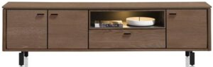 Henders & Hazel Livada lowboard 210 cm. - 3-deuren + 1-klep + 1-niche - choco brown  Tv-dressoir