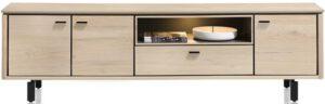 Henders & Hazel Livada lowboard 210 cm. - 3-deuren + 1-klep + 1-niche - natural  Tv-dressoir