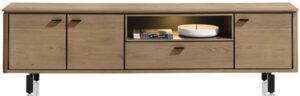 Henders & Hazel Livada lowboard 210 cm. - 3-deuren + 1-klep + 1-niche - railway brown lak  Tv-dressoir